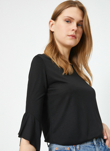 Koton Volanli T-Shirt Siyah